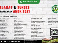 Spanduk 2 x 3 Banner selamat dan sukses pelaksanaan ANBK 2021 MTsN 2 Sukabumi